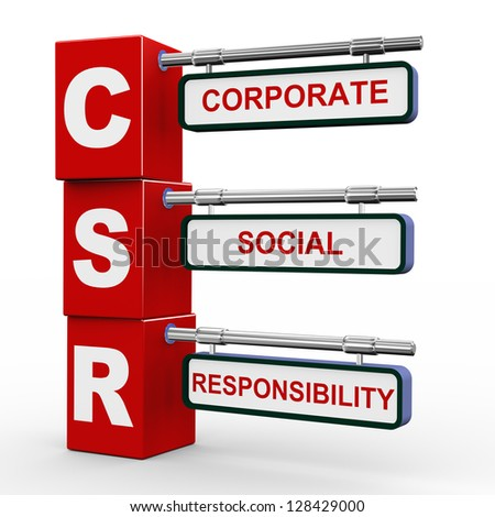 3d illustration of modern roadsign cubes signpost of csr - Corporate Social Responsibility - stock photo