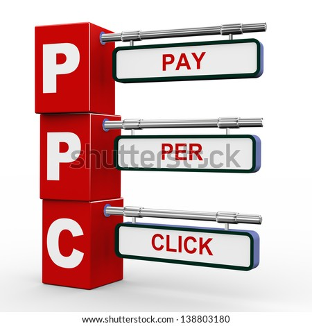 3d illustration of modern roadsign cubes signpost of ppc - pay per click - stock photo