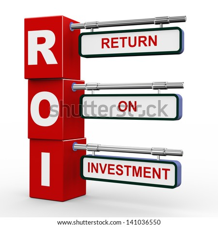 3d illustration of modern roadsign cubes signpost of roi - return on investment - stock photo
