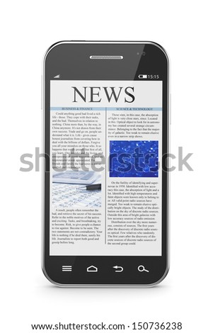 3d illustration of modern smart phone with business news article