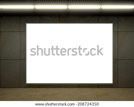 3d illustration of modern subway station with bench and ad sign - stock photo