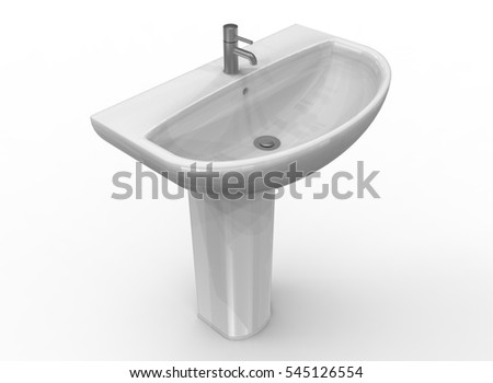3d illustration of modern wash basin. white background isolated. icon for game web.