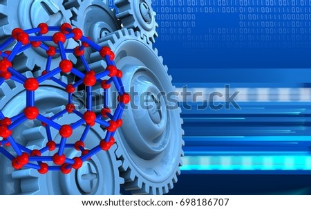 3d illustration of molecular structure over cyber background with blue gears
