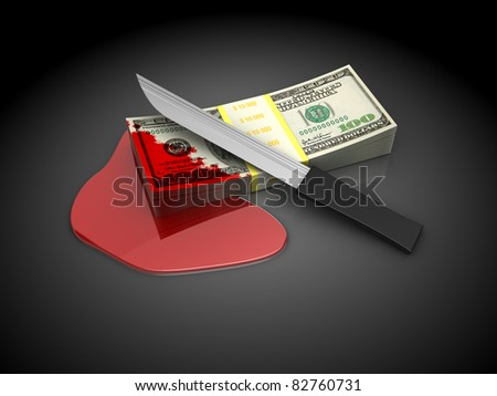 3d illustration of money and knfe, over dark background