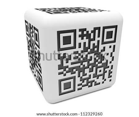 3d illustration of monochromatic cube with QR code pattern on white