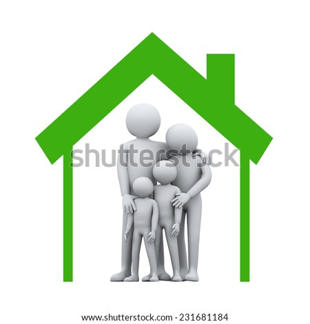 3d illustration of mother and father with their children in house symbol.  3d rendering of people - human character and family love concept. - stock photo