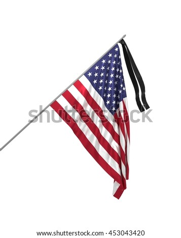 3d illustration of mourning flag of USA / Honoring the memory of the victims