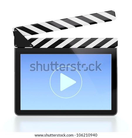 3D illustration of movie player icon in form of computer screen - stock photo