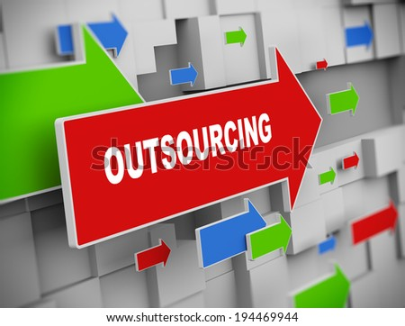 3d illustration of moving arrow of outsourcing on abstract wall background. - stock photo