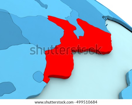 3D illustration of Mozambique highlighted in red color on blue globe