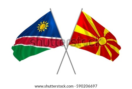 3d illustration of Namibia and Macedonia crossed state flags waving
