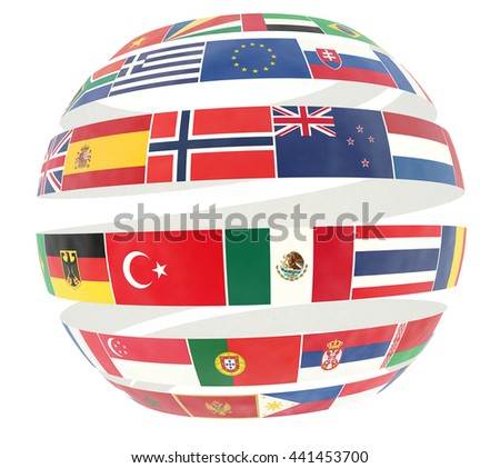 3D illustration of National flags twisted as spiral globe - stock photo