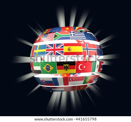 3D illustration of National flags twisted as spiral globe with rays - stock photo