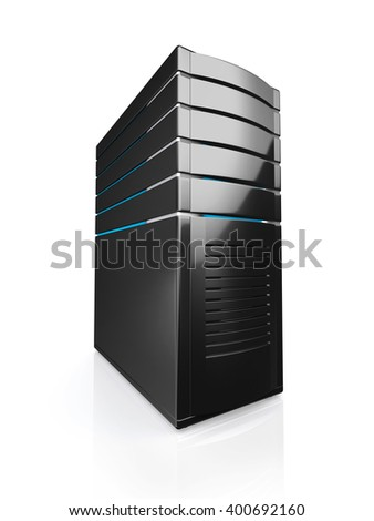 3D illustration of network workstation server isolated on white background. - stock photo