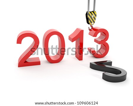 3d illustration of New Year 2013. Building a hook puts the figure three - stock photo