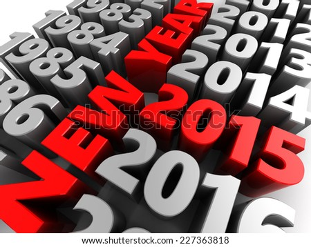 3d illustration of new year 2015 concept