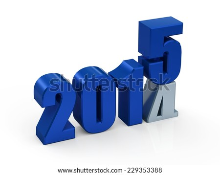 3D illustration of 2015 new year concept.
