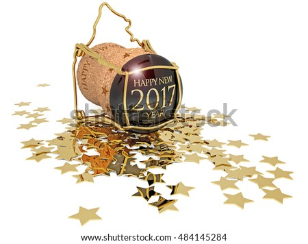 3D illustration of new year's champagne cork and golden stars