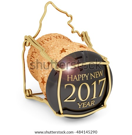 3D illustration of new year's 2017 champagne cork isolated