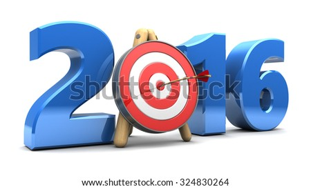 3d illustration of new year 2016 sign with target - stock photo