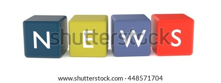 3d illustration of NEWS word from colored cubes