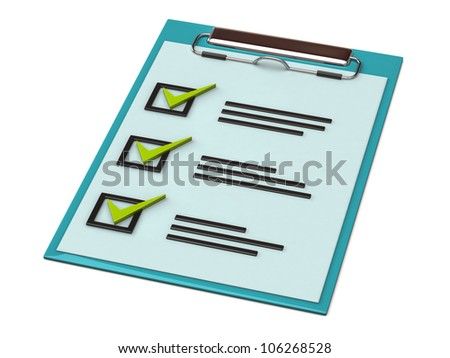 3d illustration of note paper clipboard with check list - stock photo