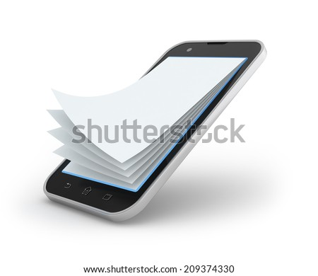 3d illustration of notepad smartphone on white - stock photo