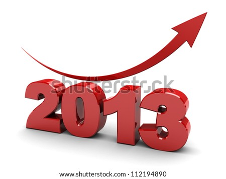3d illustration of number year 2013 with red arrow up - stock photo