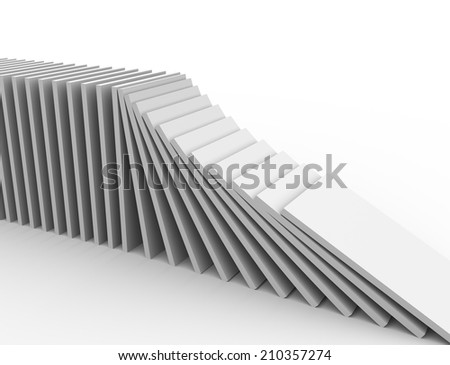 3d illustration of object falling in the line of domino - stock photo