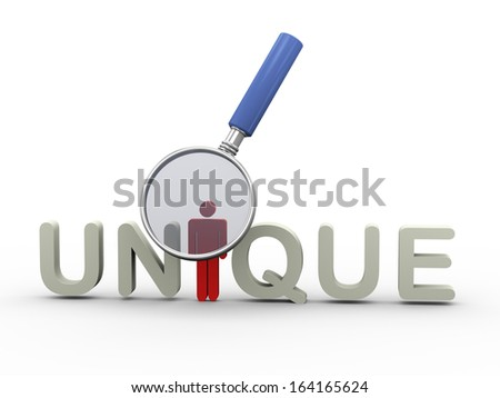 3d illustration of of magnifying glass hovering over word unique with red special man. - stock photo