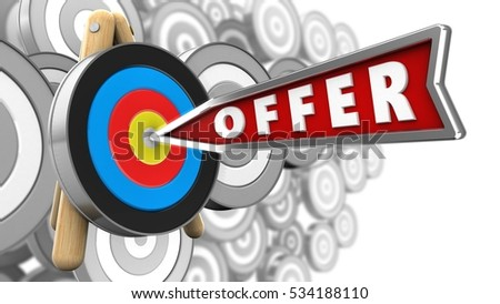 3d illustration of offer arrow with target stand over many targets background