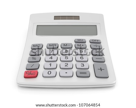 3d illustration of office calculator isolated on white background - stock photo