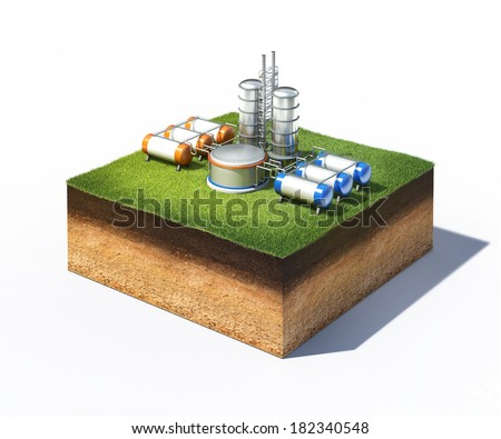 3d illustration of oil refinery factory standing on cross section of ground with grass isolated on white - stock photo
