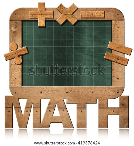 3D illustration of old empty and green blackboard with wooden rectangular frame, text Math and symbols. Isolated on white background - stock photo
