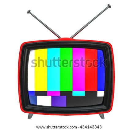 3D Illustration of old style red TV isolated on white