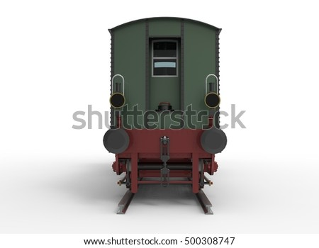 3d illustration of old vintage train locomotive. isolated on white background