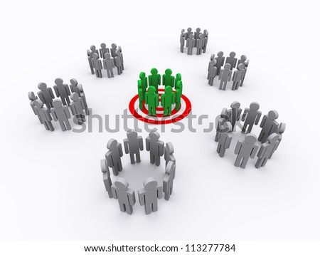 3d Illustration of one group target - stock photo