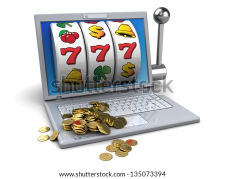 3d illustration of online jackpot concept - stock photo