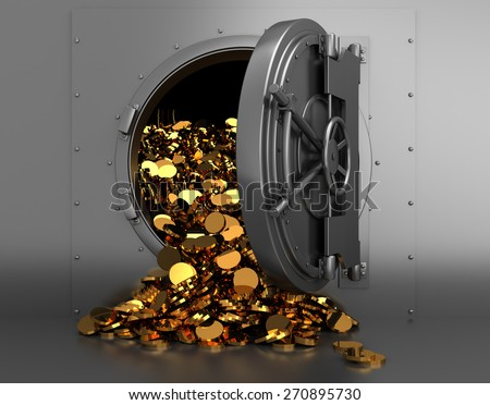 3d illustration of opened bank treasury full of golden coins - stock photo