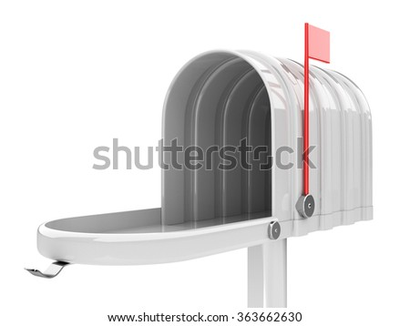 3d illustration of opened empty white mailbox isolated on white background