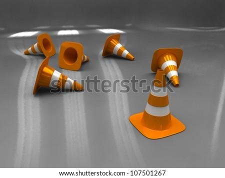 3d illustration of orange and white traffic cone on grey background