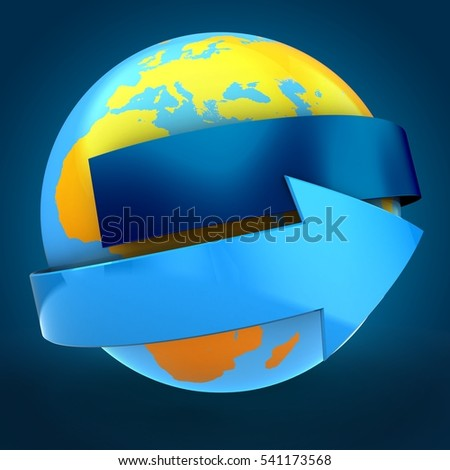 3d illustration of orange Earth globe over blue background  with blue banner and blue arrow