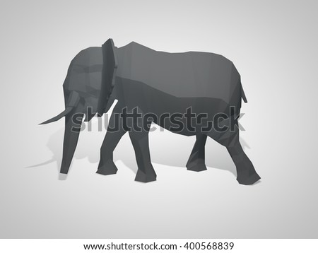 3D Illustration Of Origami Elephant Polygonal Walking Geometric Style Side View