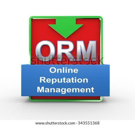 3d illustration of orm online reputation management concept - stock photo