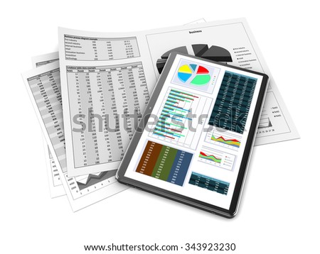 3d illustration of papers and tablet with business data