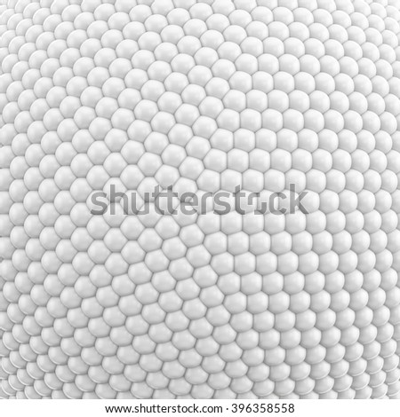 3D illustration of pattern or texture consisting of white spheres