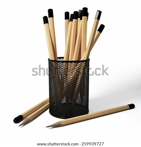 3D illustration of pencils in the stand on a white background