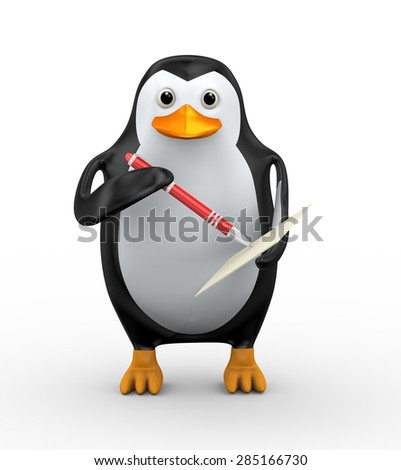 3d illustration of penguin writing on page with red stylish red pen