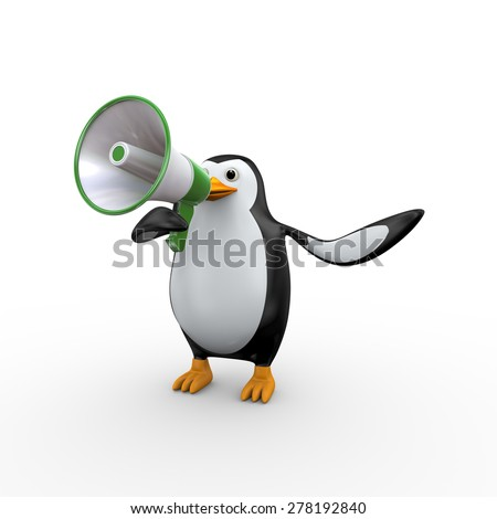 3d illustration of penguin yelling and shouting through megaphone - stock photo