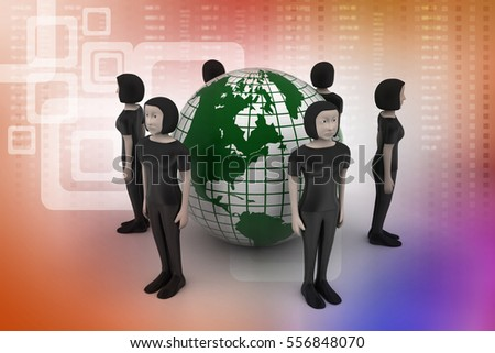 3D illustration of people around a globe representing social networking